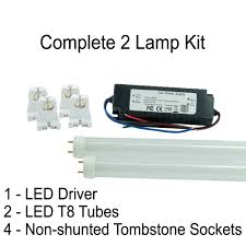 Non Shunted T8 Lamp Holder by T8 Led Tube Kit With 2 Lamps 1 Led Driver And 4 Non Shunted