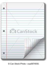 Wide ruled notebook paper pages & page curl background stock