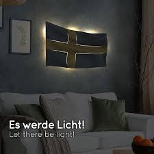 schweden flagge als le aus holz schenke deine