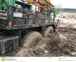 A Tow Truck Stuck In The Mud. Stock Photo - Image Of Dirty, Extreme ...