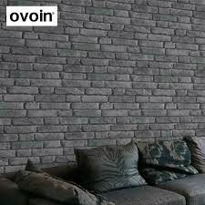 Wallcoverings Dark White Grey Rustic Brick Effect Wallpaper Black