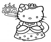 Princess Hello Kitty Coloring Pages