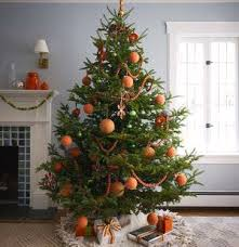 Orange Ornaments Decorating The Christmas Tree