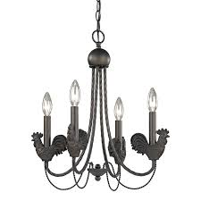 country chic brown bronze rooster kitchen chandelier