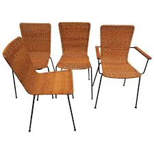 Set Of Four Rattan And Iron Dining Chairs One With Armrests, Mid ... Set Of Six Leatherbound Rattan Ding Chairs By Mcguire Eight Brge Mogsen For Sale At 1stdibs Vintage Bentwood Of 3 Stol Kamnik Cane And Rattan Fniture Five Shop Provence Oh0589 Outdoor Patio Wicker With Arms Teva Bora 2 Verona Pair Garden Fniture Brown Muestra Natural Teak Wood Woven Chair Zin Home Hospality Kenya Mcombo Poolside Cversation C Capris And Ottomans Sc753 Weathered Gray