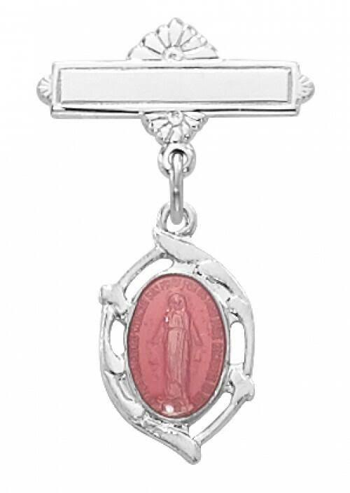 McVan Sterling Silver Pink Miraculous Medal Baby Pin & Gift Box
