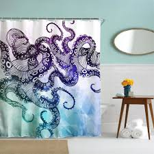 Octopus Polyester Shower Curtain Bathroom Curtain High Definition