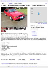 For $6,900, This 1985 VW Scirocco Might Be All That Craigslist Dallas Cars Trucks For Sale By Owner Image 2018 Washington Search All Of Wa For Used By Seattle 1920 New Car Release Date Banks Boats Yachtworld And Truck Pictures Barry Jaroslow Bryjaroslow Twitter Knighports A Party Pooper Hamzandwich Gtfih Hondatech Dad Loses Classic Car After State Mistake Chicago Illinois Best Craigslist 1995 Pontiac Grand Am Ashland Ohio And Local Private