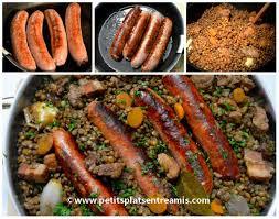 cuisine des lentilles lentilles aux saucisses et au lard petits plats entre amis