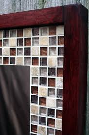 glass mosaic tile framed mirror brown by natureinspiredcrafts