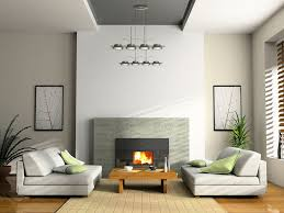contemporary living room with cement fireplace pendant light