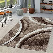 t t design teppich wohnzimmer gestreift modern mit konturenschnitt in braun beige creme größe 60x110 cm