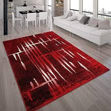 paco home designer teppich modern trendiger kurzflor teppich in rot creme meliert grösse 60x100 cm