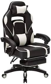 Merax High-Back Racing, Ergonomic Gaming Footrest, PU Leather Swivel  Computer Home Office Chair Including Headrest And Lumbar Support (White) Mooreco Ergo Ex Ergonomic Office Chair Black Seat 5star Base 21 Width X 1850 Depth 28 24 51 Height Details About High Back Executive Computer Desk Swivel Armrest Leather With Plush Headrest Extensive Padding And Arms Allsteel Relate Ergonomic Chairs Fniture I Ergoprise Houston Texas 8779078688 Seating Tx Spigner Push Task Standing Desks Austin Ergonomic Home Tbc Control Room Desk Ehst3ebl Sit Stand Recling Adjustable Chiars Steelcase Leap V2