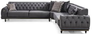 casa padrino luxus deco chesterfield ecksofa grau schwarz gold 320 x 285 x h 82 cm edles wohnzimmer sofa mit dekorativen kissen luxus