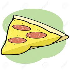 Cartoon illustration showing a pepperoni and cheese pizza slice Stock Vector