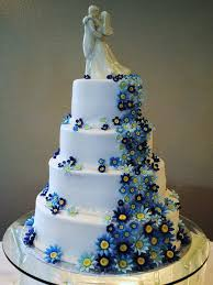 Blue Flowers Wedding Cakes Womenboard Attractive