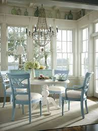 Home Decorating Ideas Kitchen Dining Area French Windows Light Blue Chairs White Table