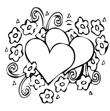 Heart And Flower Coloring Pages