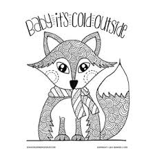Baby Its Cold Outside Winter Fox Coloring Page