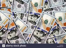 A background image of new blue American hundred dollar bills Stock