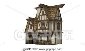 Drawing Me val bakery building isolated on white background Clipart Drawing gg