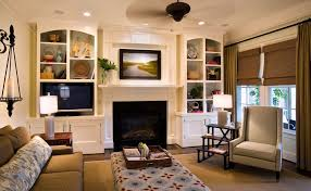 Bookcase Fireplace Surround Living Room Transitional With Inset