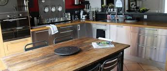 table cuisine inox cuisine chaleureuse table ancienne meubles bois et inox