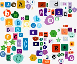 Cute shape decorative 26 letters of the alphabet vector material