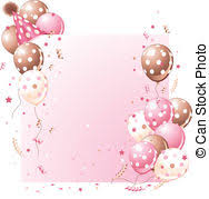 Pink Birthday card Pink birthday card with balloons hat