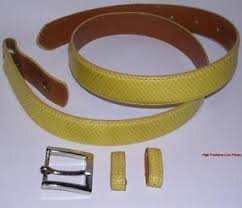 S M DESIGNER BELT Removable Buckle REAL Genuine Leather Yellow