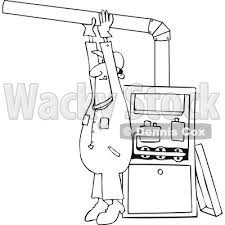 Clipart Of A Cartoon Lineart Black Male Furnace Installer Adjusting Pipe