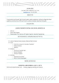 Highschool Resume 12 Free High School Student Examples For Teens