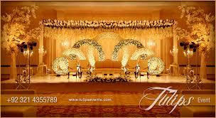 Golden Pakistani Wedding Theme Decoration Stage Setup Design And