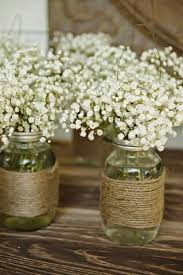 Shabby chic Baby s breath in mason jars for wedding centerpieces