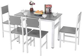 ejoyous esstisch aus holz mit 4 stühlen esszimmer set einfaches modernes tisch stuhl set für esszimmer wohnzimmer küche robustes massivholz stahl