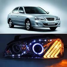 ownsun smoke black led eye drl projector headlight for