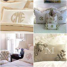 Comfortable Monogrammed Bedding For Your Bedroom Design Ideas Enchanting With Decorative Pillows