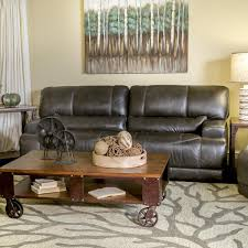Sienna Designs Leather Power Reclining Sofa In Charcoal