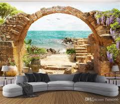großhandel benutzerdefinierte wandbild tapete garten stein bö sea view 3d fototapete für wohnzimmer sofa schlafzimmer hintergrund große