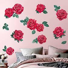 decalmile wandtattoo rote wandaufkleber blume pflanzen wandsticker mädchen schlafzimmer badezimmer