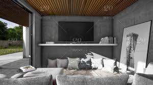 Modern White Kitchen Interior 3d Rendering Stockfoto Und 3d Render Of Interior Living Room And Kitchen In Beautiful
