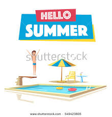 Swimming Pool With A Diving Board Cartoon Vector Illustration Sport And Recreation Preparing