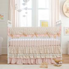 Pale Pink and Gold Chevron Crib Bedding