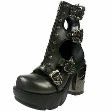 demonia womens gothic multi buckle strap boot shoes spikes