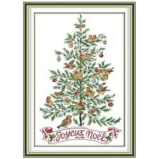 The Christmas Tree With Birds Counted Cross Stitch 11CT 14CT Set Wholesale