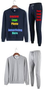 Oversized Solid Custom Logo Photo Print Text Men Sweatshirt Sets Suits Two Pieces Unisex Lovers Women