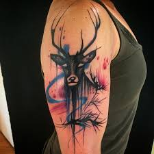 Awesome Scottish Stag Tattoo On Right Half Sleeve