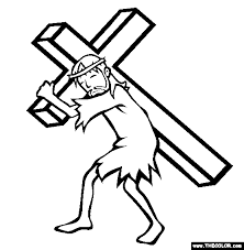 Bearing The Cross Coloring Page