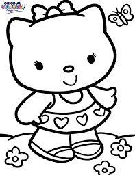 Hello Kitty With Butterfly Coloring Page